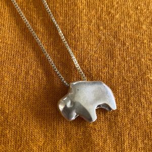Sterling silver buffalo necklace with box chain
